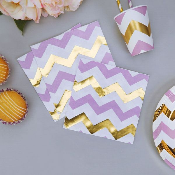 Pattern Works Lilac Chevron Napkins (16)